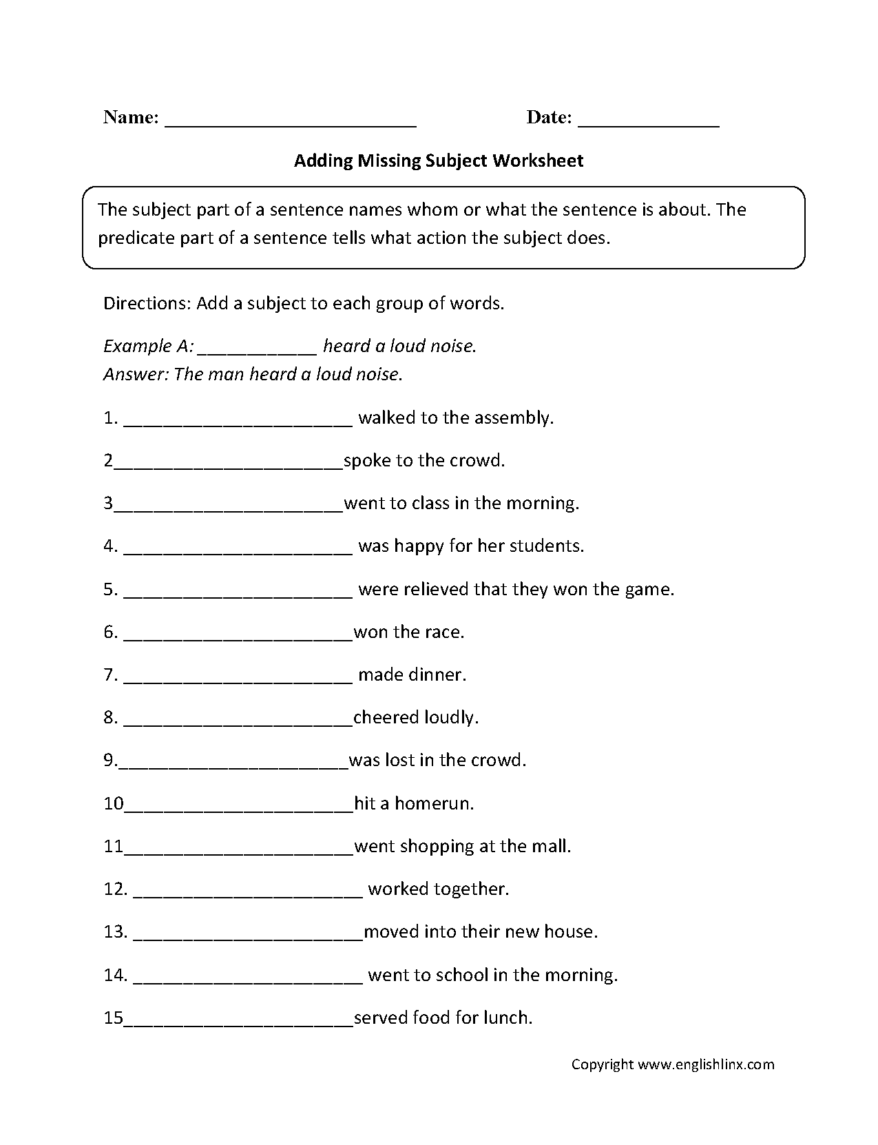 small resolution of Adding Missing Subjects Worksheet   Subject and predicate worksheets