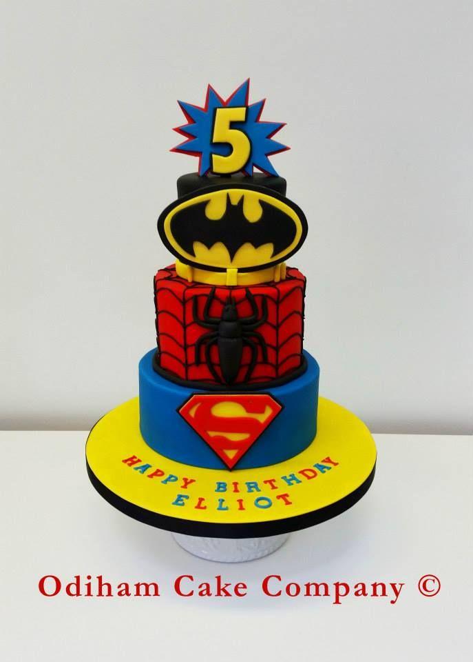 OCC - 3 Tier cake for a super hero party. #spiderman #cake #superhero #hero #Batman #superman