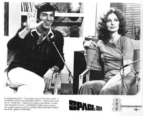 "An interplanetary first! Two resident aliens of the space world -- CATHERINE SCHELL and LEONARD NIMOY -- discuss their earth allies on ""Good Day"" originating in Boston and telecast to major cities throughout the U.S. CATHERINE SCHELL stars as Maya, ""the wonder woman of sci-fi"" in SPACE: 1999; LEONARD NIMOY stars as Mr. Spock in STAR TREK."