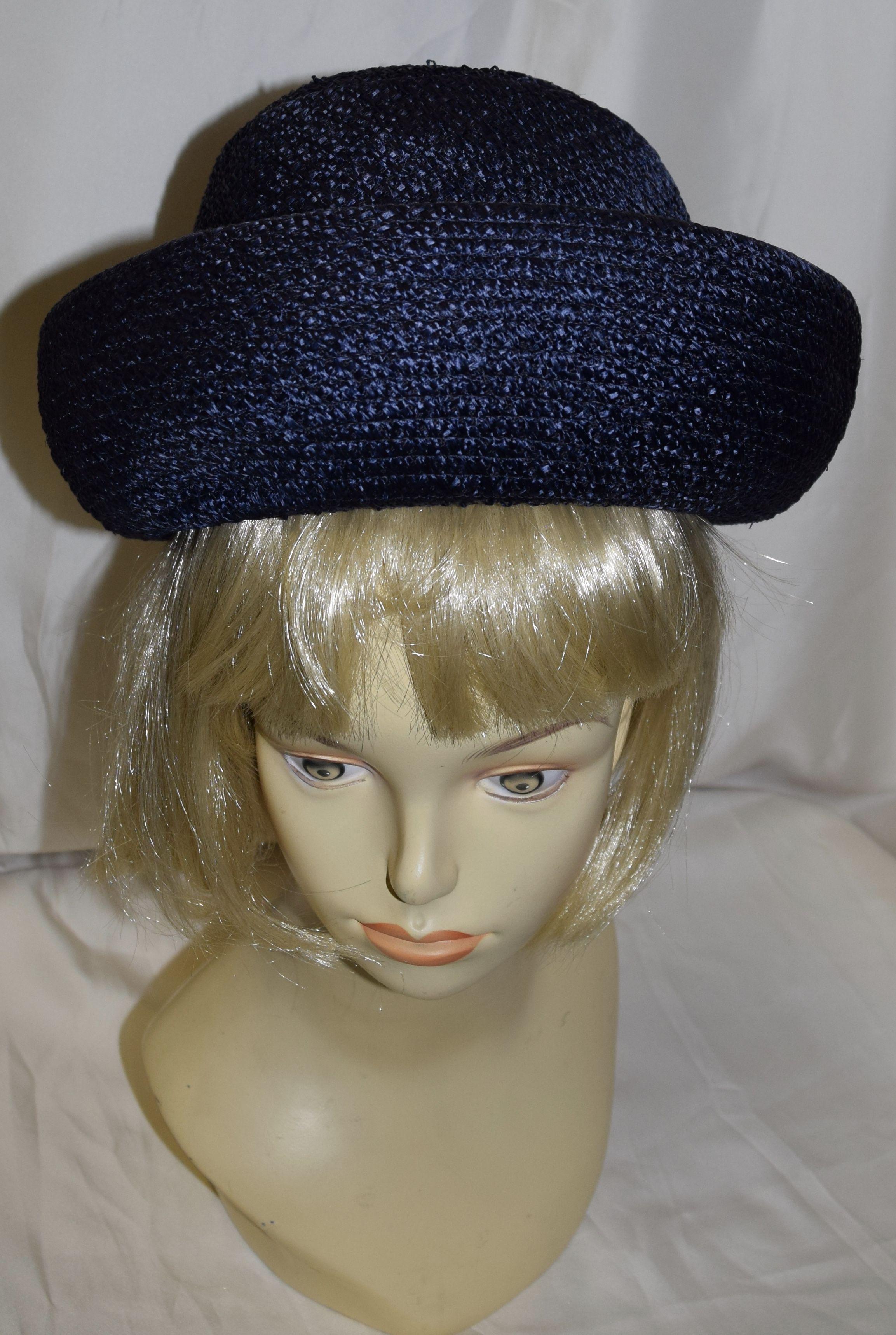 65f3abecea8 Vintage Navy Blue Bowler Style Fancy Summer Hat