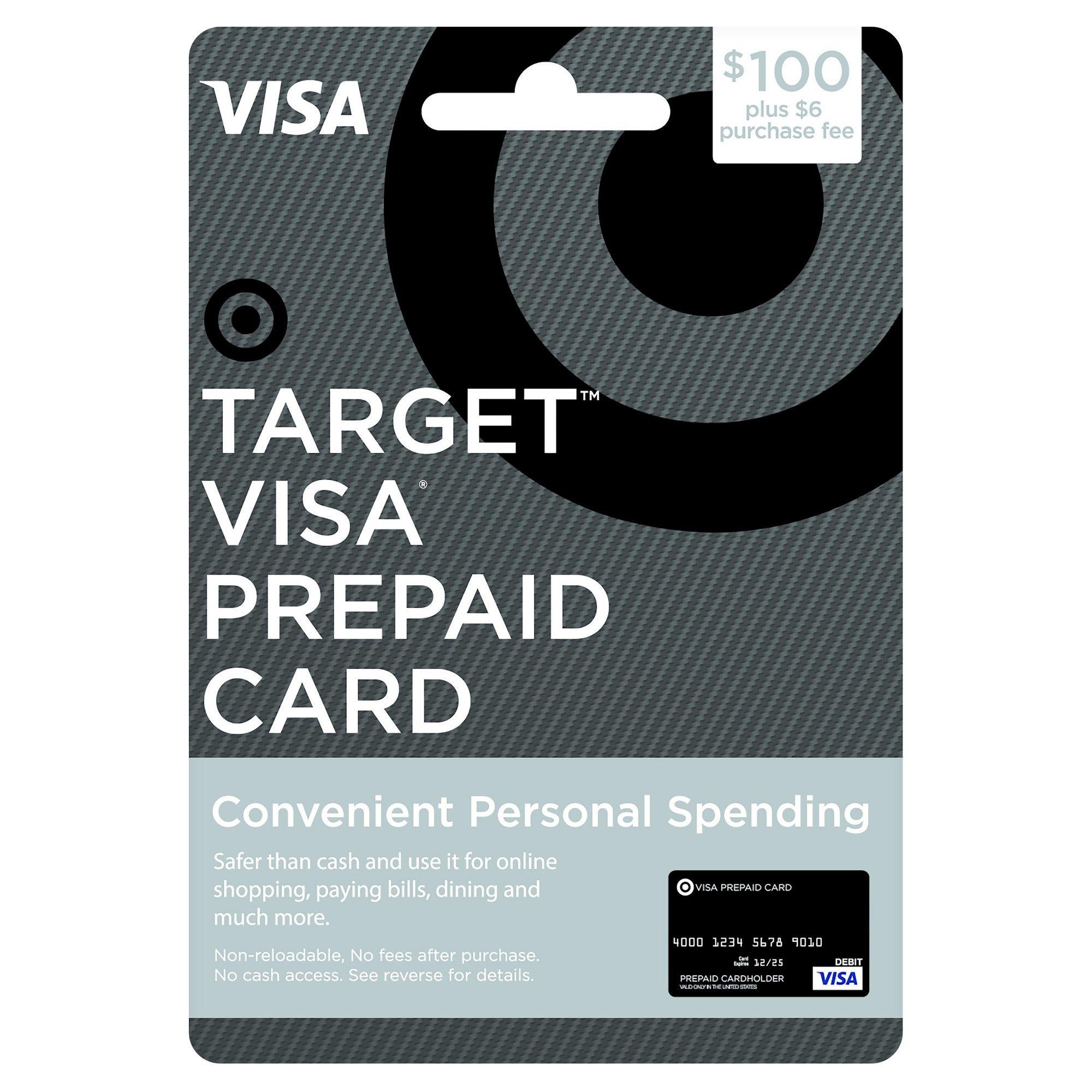 $100 Visa Prepaid Card - $100 + $6 Fee | Products | Target