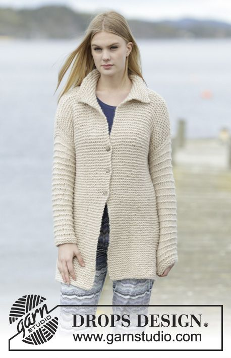 """Knitted DROPS jacket in garter st with collar and vent in """"Cloud ..."""
