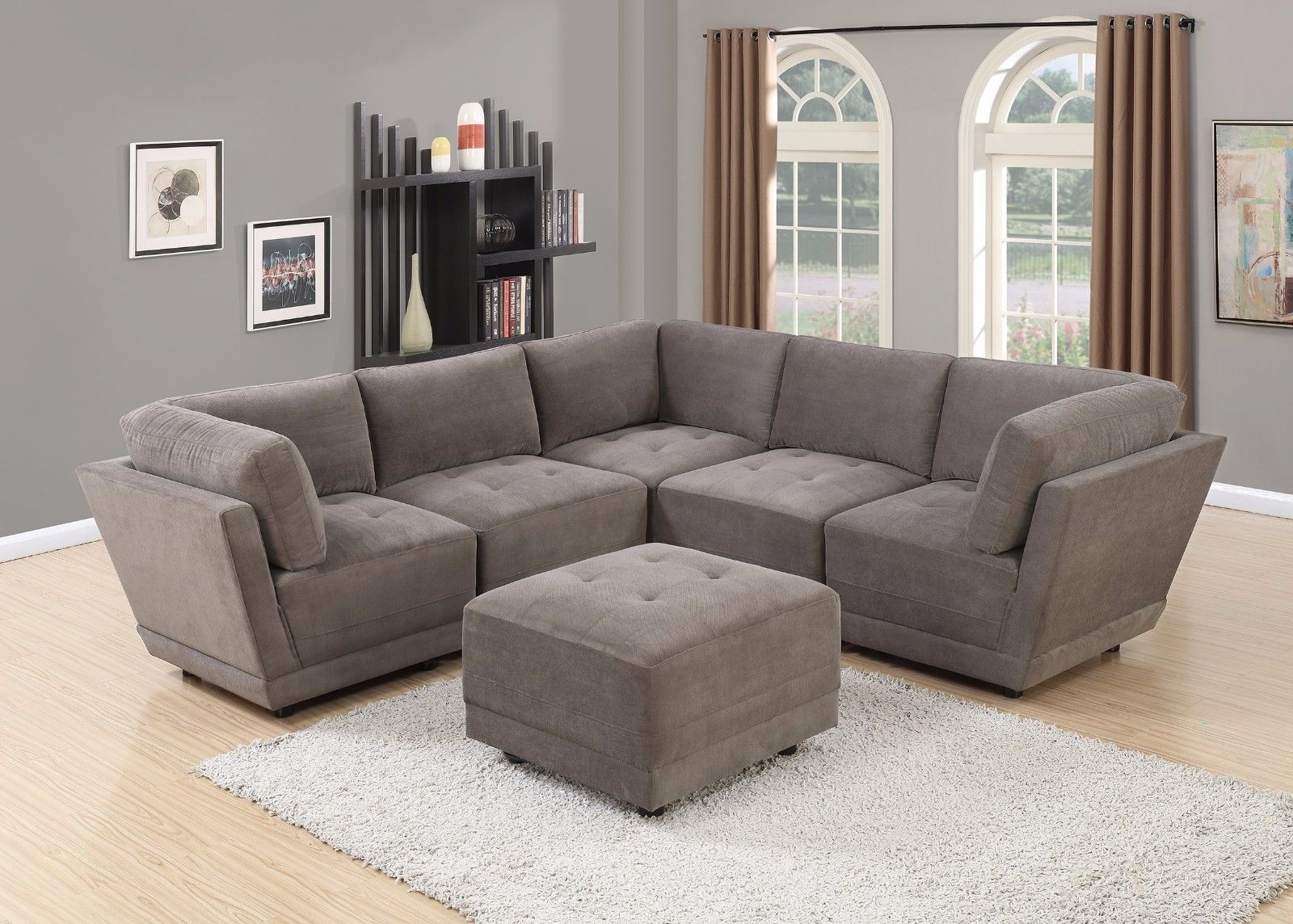Best Modern 6Pc Modular Set Sectional Sofa Waffle Suede 400 x 300