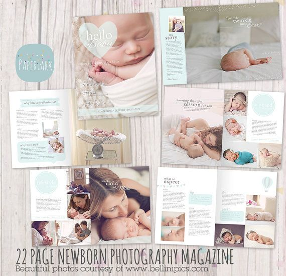 Newborn photography magazine template 22 pages pg012 instant download