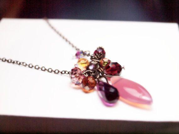 Purple multicharm long necklace