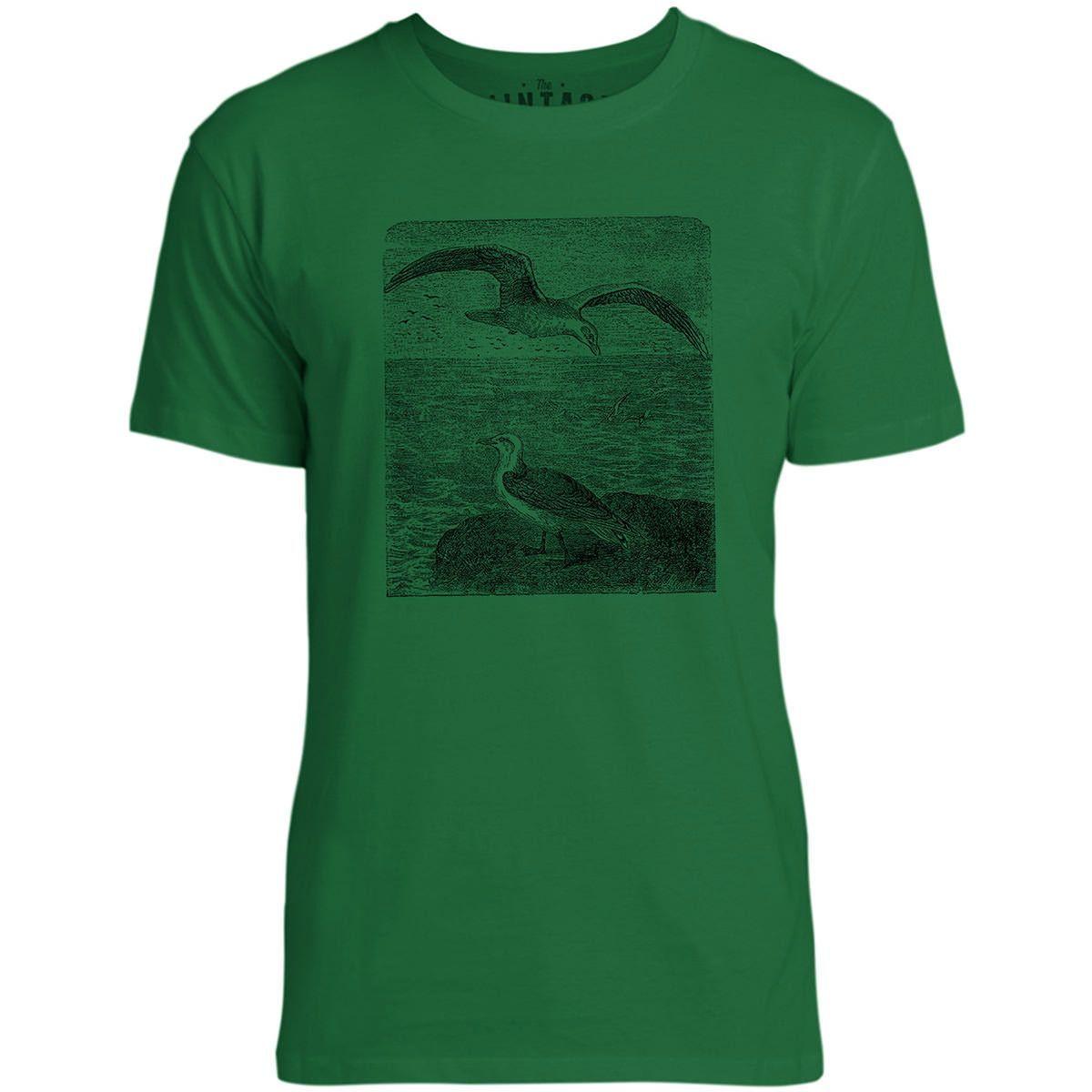 Mintage Sea Birds Mens Fine Jersey T-Shirt (Kelly)