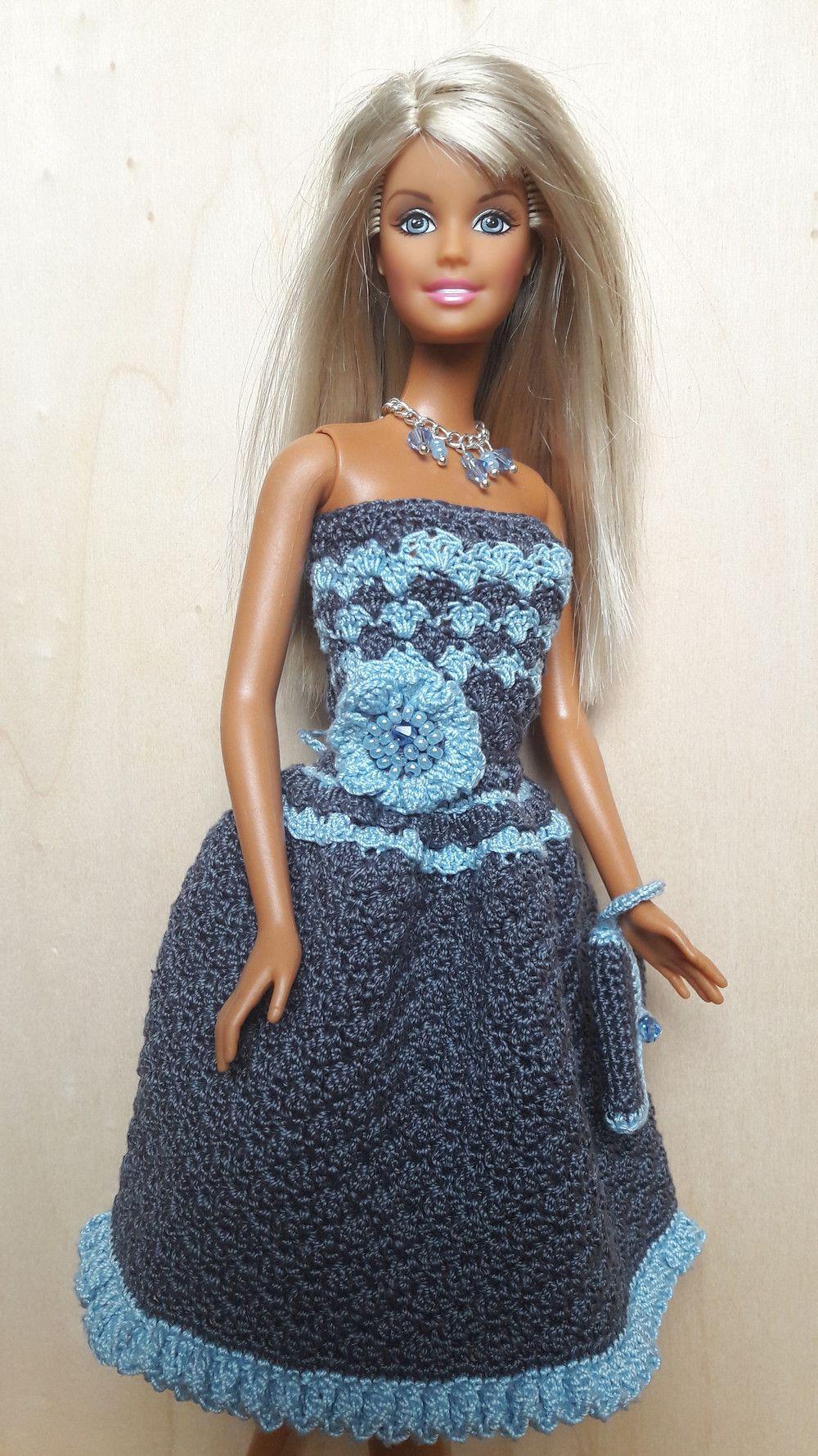 Puppenkleidung Barbiesteffi Kleid Gehäkelt Graublau Ein