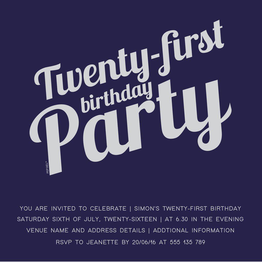 Digital Printable Birthday Invitation Template, 21st birthday ...