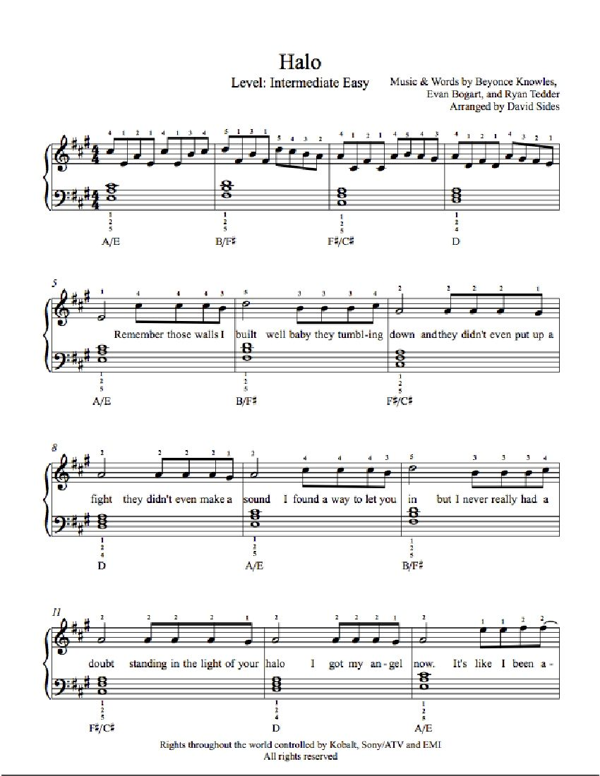 Halo by beyonc knowles piano sheet music intermediate level halo by beyonc knowles piano sheet music intermediate level hexwebz Gallery