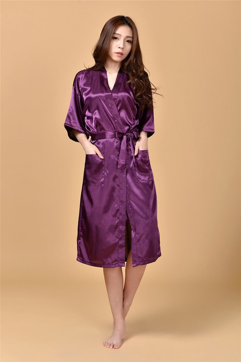RB009 Large Size Sexy Silk Satin Robe Bathrobe Dressing Gowns For ...