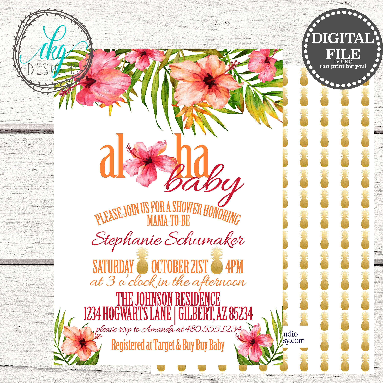 Aloha Baby Shower Invitation | Luau Baby Shower Invite | Tropical ...