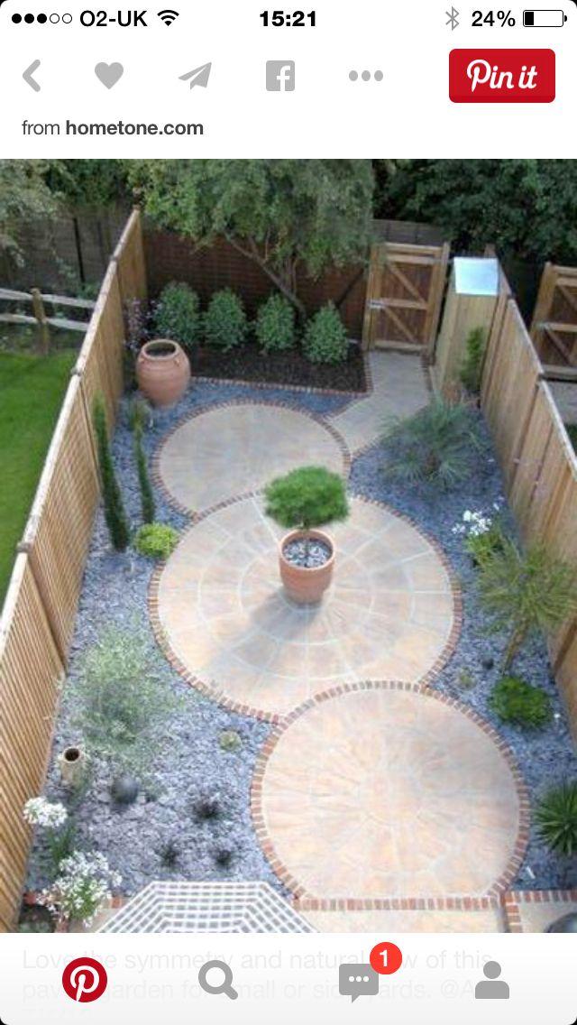Circels In De Hoofdrol Maar Wat Voegt Het Toe Gebrek Aan Beplanting Maakt Deze Tuin Leve Small Backyard Landscaping Small Gardens
