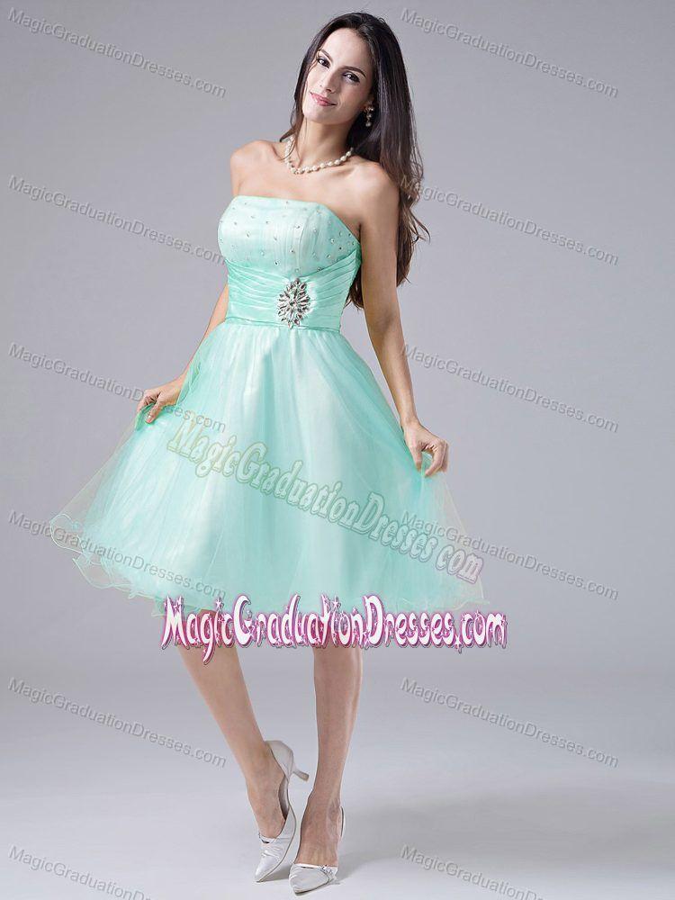 Light Blue Strapless Knee-length Graduation Dresses for Middle ...