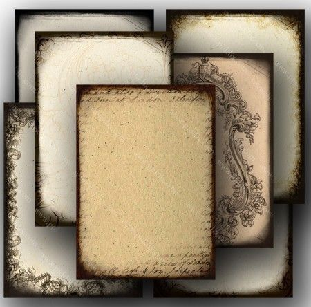 Tea-Stained digital ephemera in ACEO (playing card) size, by piddix.