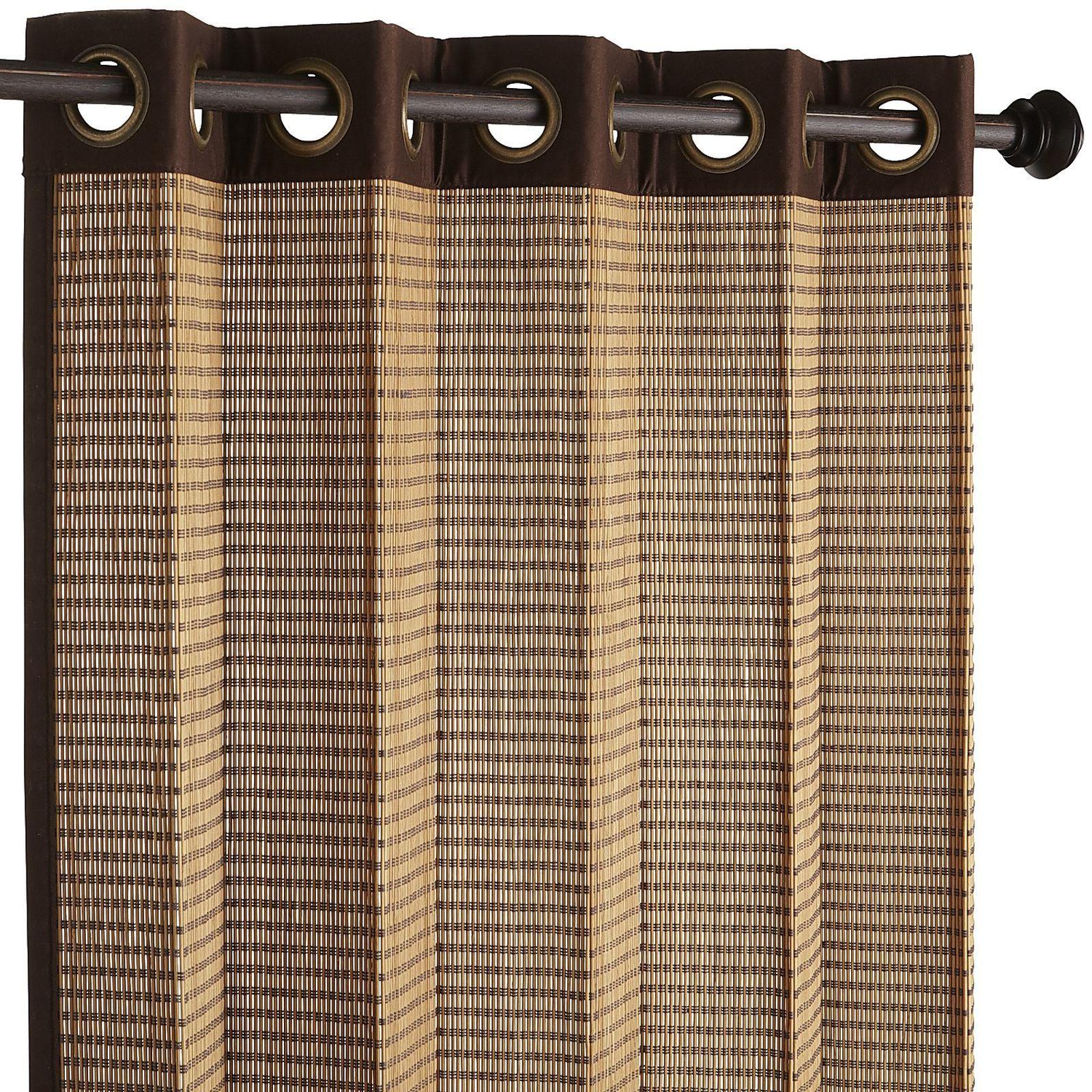 Bamboo Metallic Grommet Dark Brown Curtain Bamboo Panels Brown