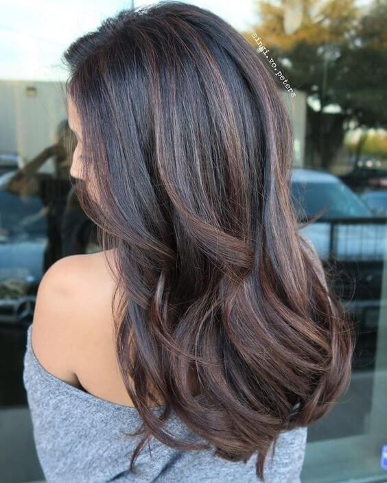 Dark Brown Hair With Chocolate Brown And Copper Highlights Fall Hair Color For Brunettes Balayage Hair Hair Color For Black Hair