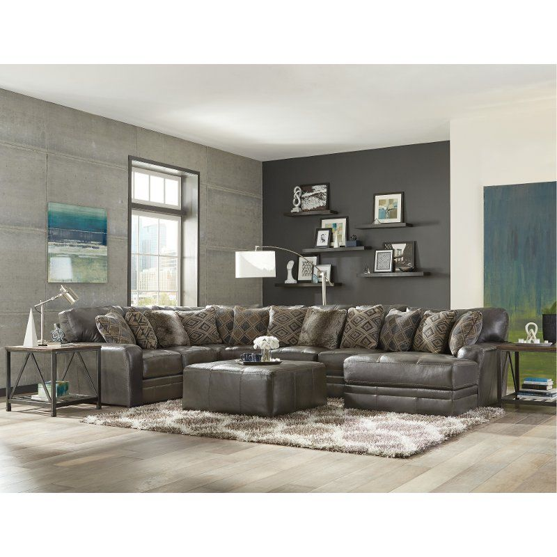 Steel Gray 5 Piece Sectional Sofa With Raf Chaise Denali