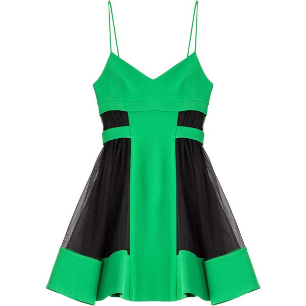 David Koma Dress ($380) ❤ liked on Polyvore featuring dresses, green, green dress, green skater skirt, flare dress, flared skirt and skater skirts