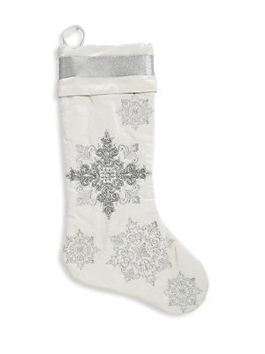 Callisto Home Embroidered Christmas Stocking - Silver Products