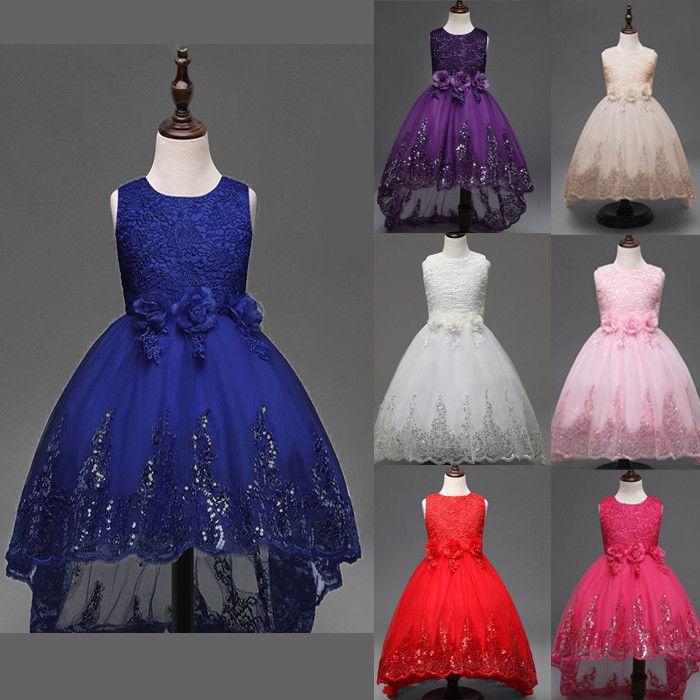 Mädchen Fest-kleid für Kinder Geburtstags Kleid Blumenmädchen Party PaillettenYJ