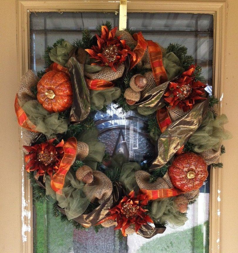 fall ribbon wreath - Google Search