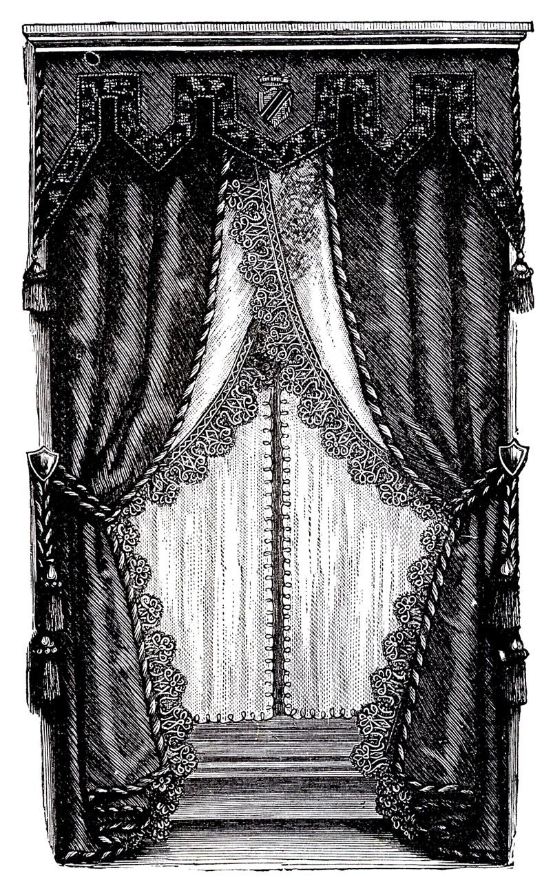 Vintage Clip Art   Fancy Victorian Curtains  Draperies