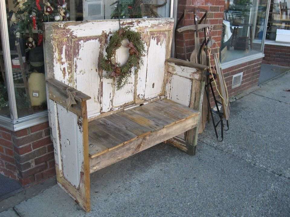 Old chippy bench with christmas wreath made from old for Old wood doors salvaged
