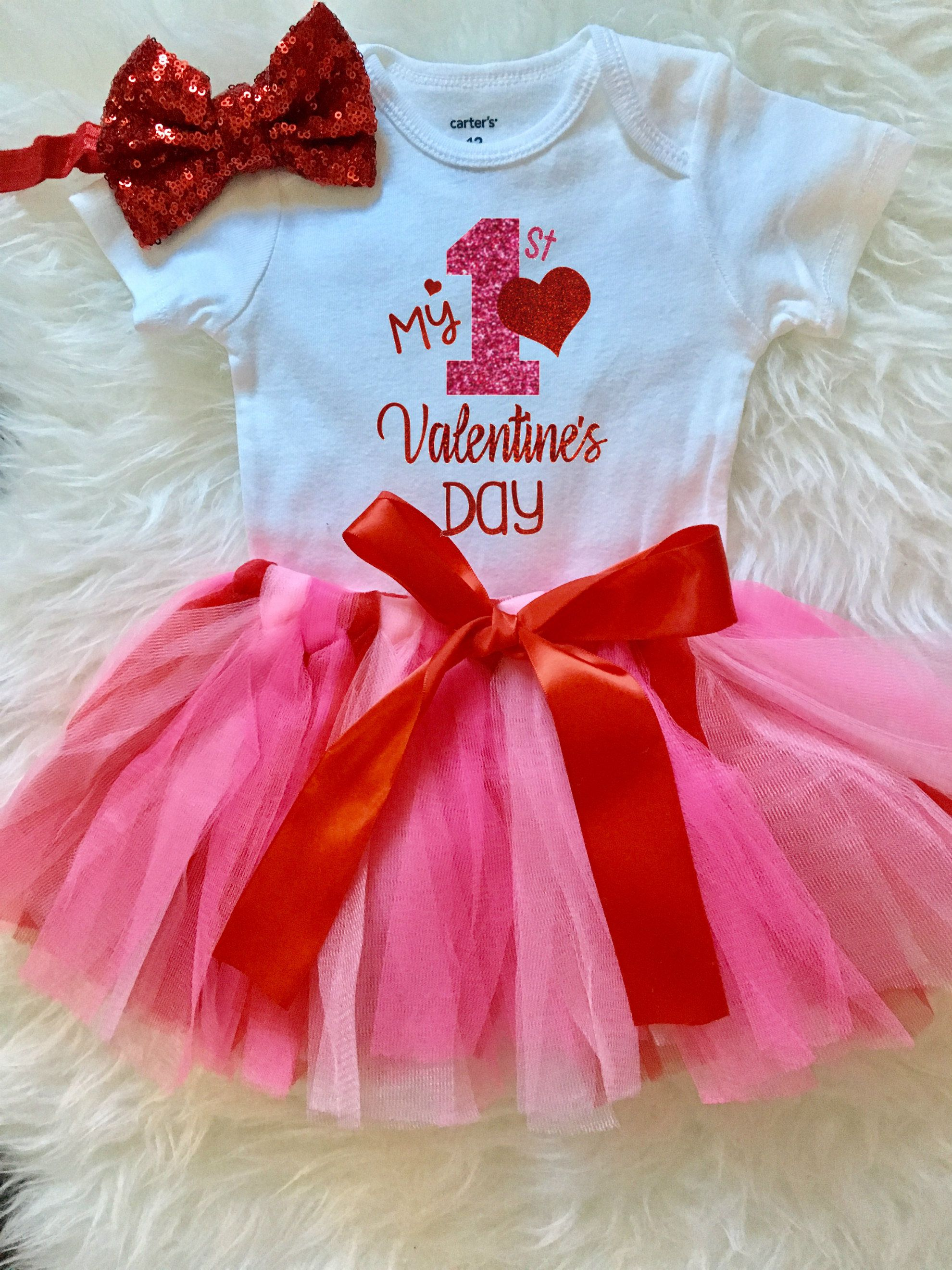 Baby Girls 1st Valentine S Day Outfit Baby Girl First Valentines Day