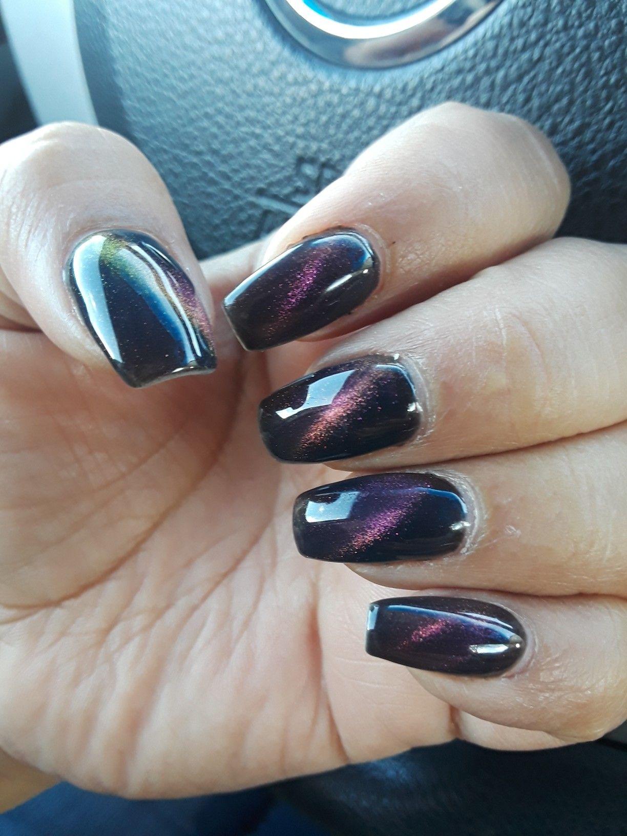 Cateye Rainbow Nails Nail Designs Acrylic Nail Designs