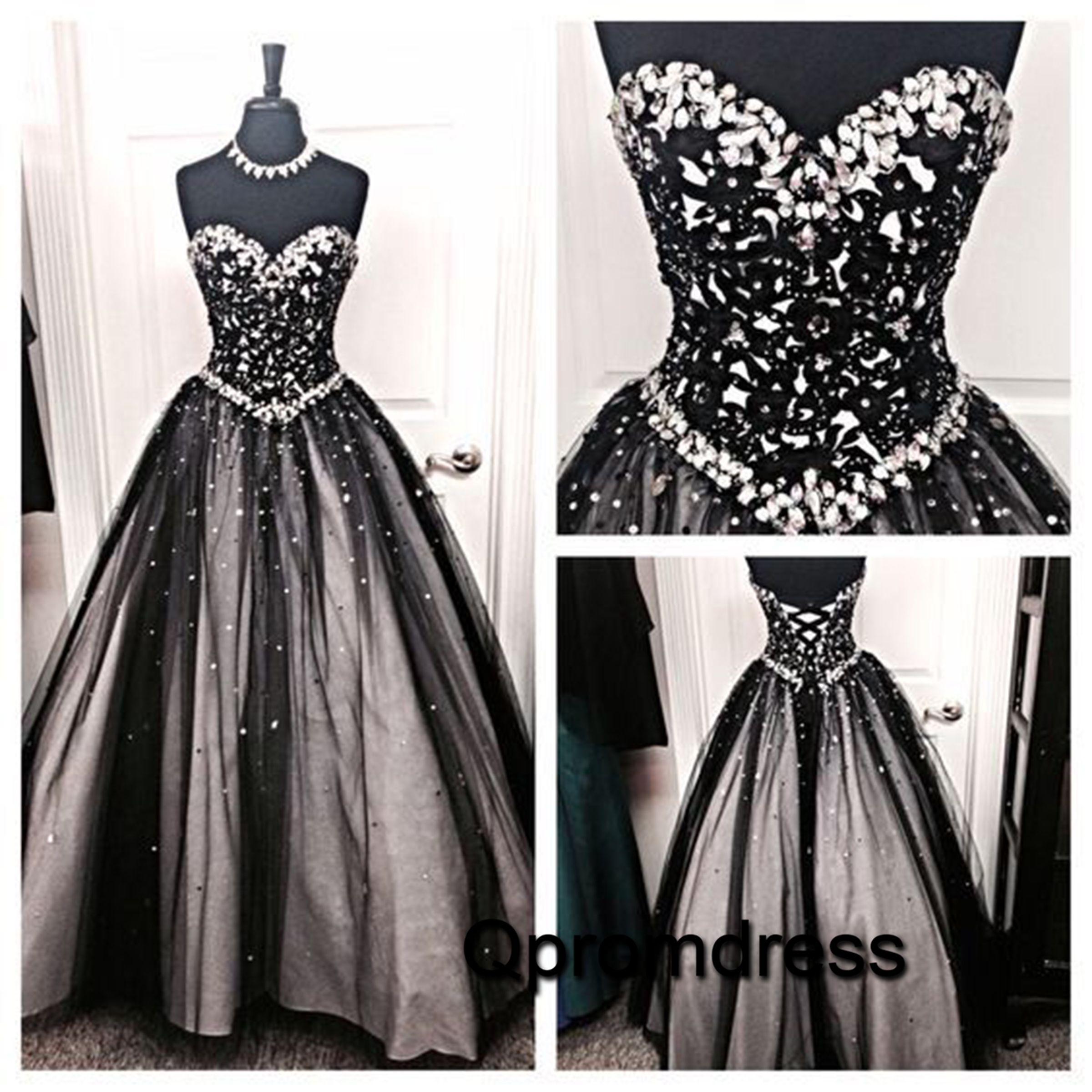 Sparkly beaded black tulle long poofy sweetheart dress for prom