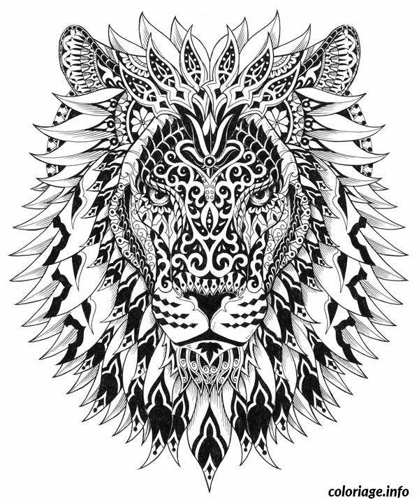 Coloriage Difficile Adulte Lion Dessin A Imprimer Design Lion