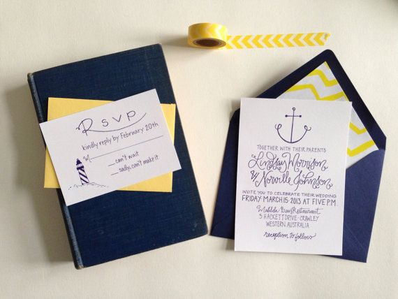 Nautical Wedding Invitation Anchor Lighthouse Perfect for a