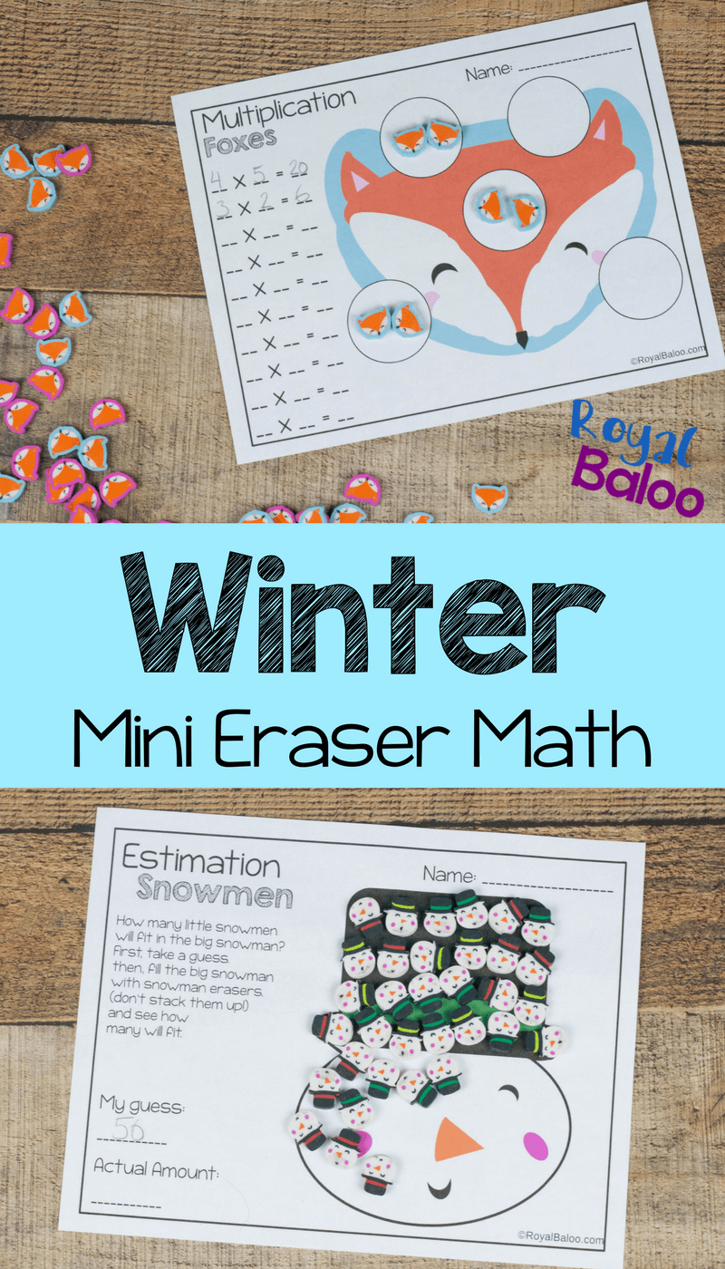 No Prep Winter Mini Eraser Math Pages | AWESOME First Grade ...