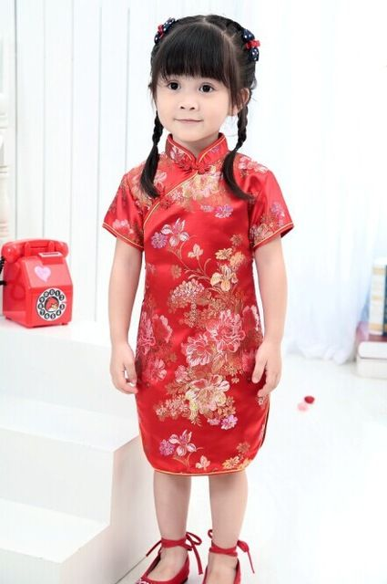 c5059764a Cute Girls  summer Dresses Kid Chinese chi-pao cheongsam New Year ...