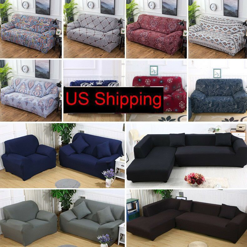 1 2 3 4 Seat L Shape Stretch Sofa Cover Chair Couch Cover