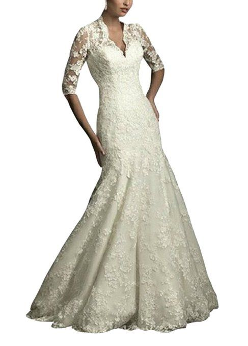 DAPENE Women Elegant Lace Midi Sleeves Long Trailing Wedding Dress ...