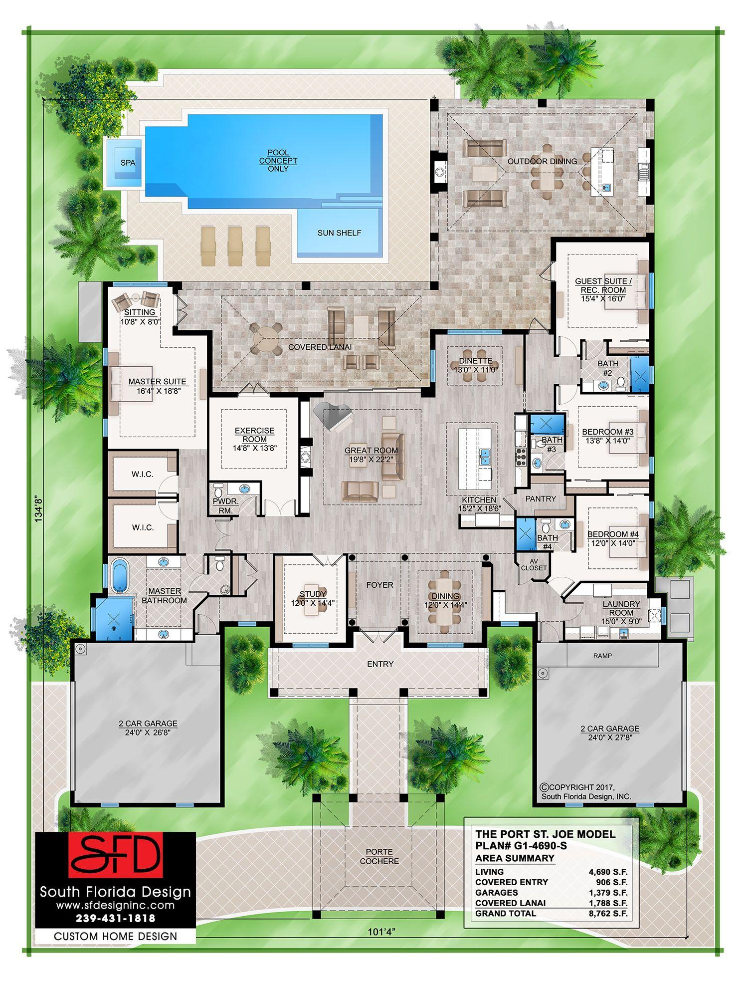 g1 4690 s_port st joe_21117_color plan low res_logo dream house plansmy - My Dream House Plan