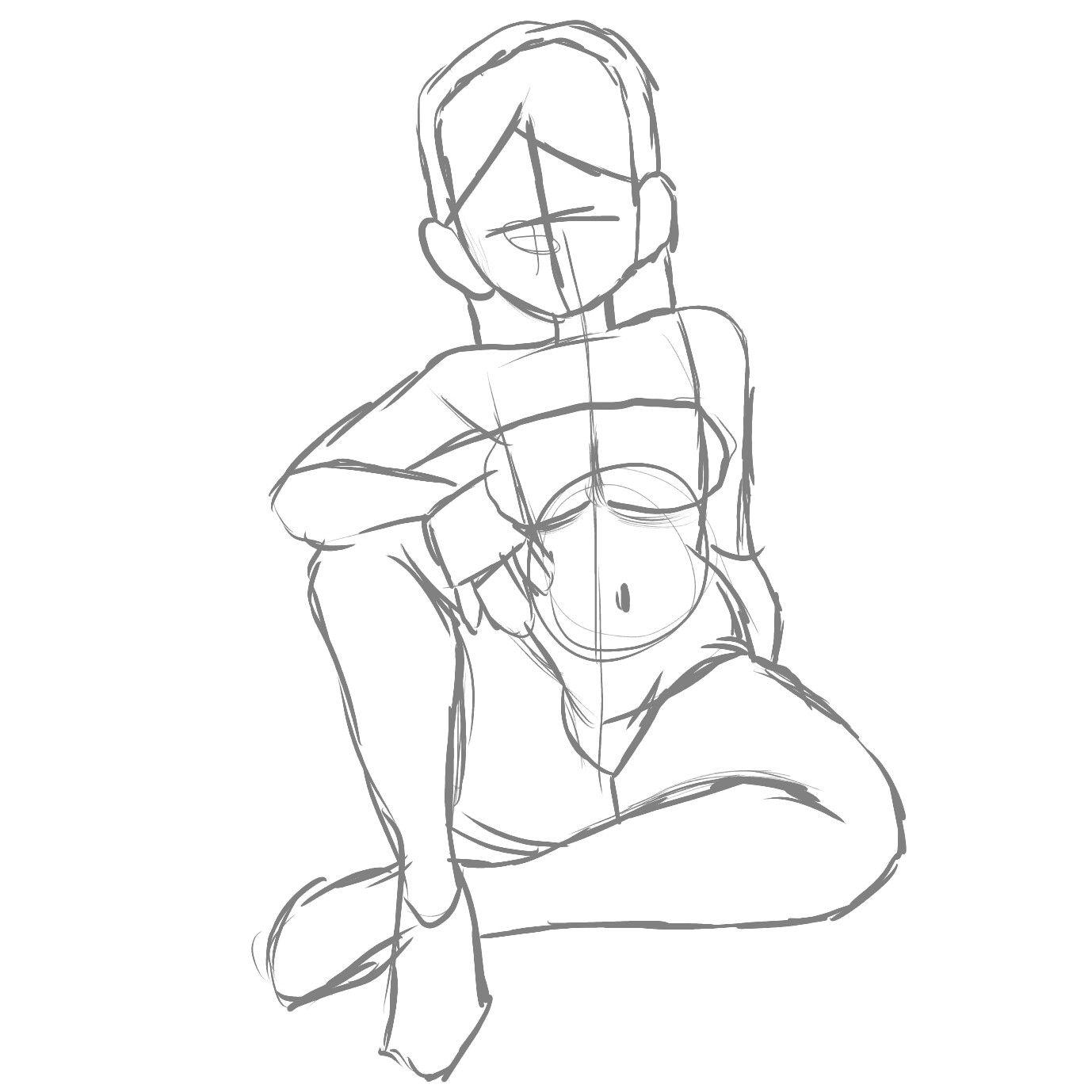 Digital Art Sketch Girl Sitting Drawing Art Line Art Body Drawing Art Sketches Drawing Base