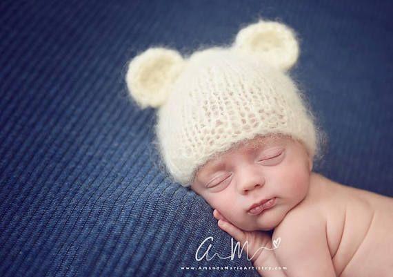 880b96aa8 Adorable Knitted Baby bear beanie, Fluffy newborn baby bear ears hat ...