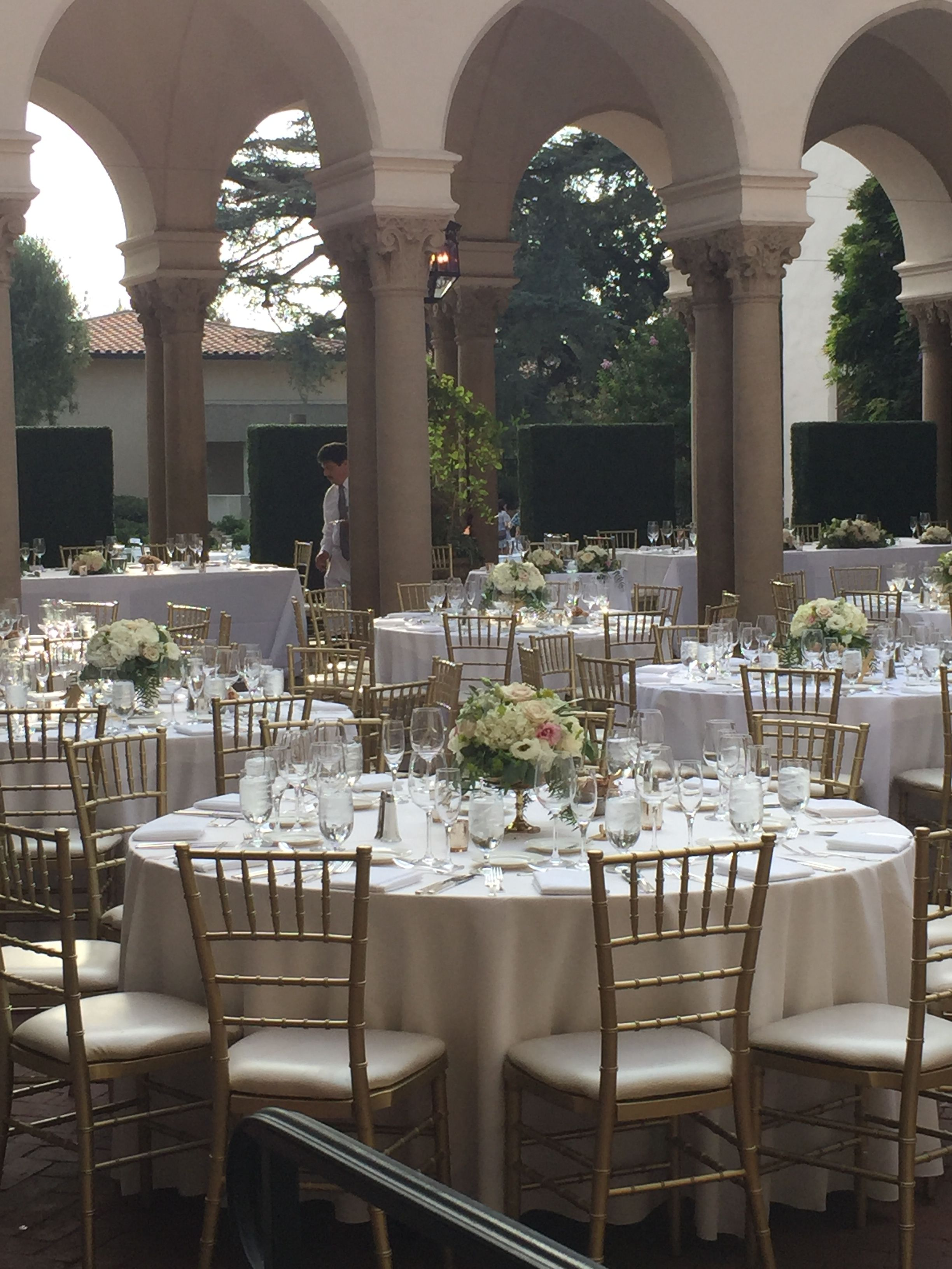 outdoor wedding reception set up and centerpieces