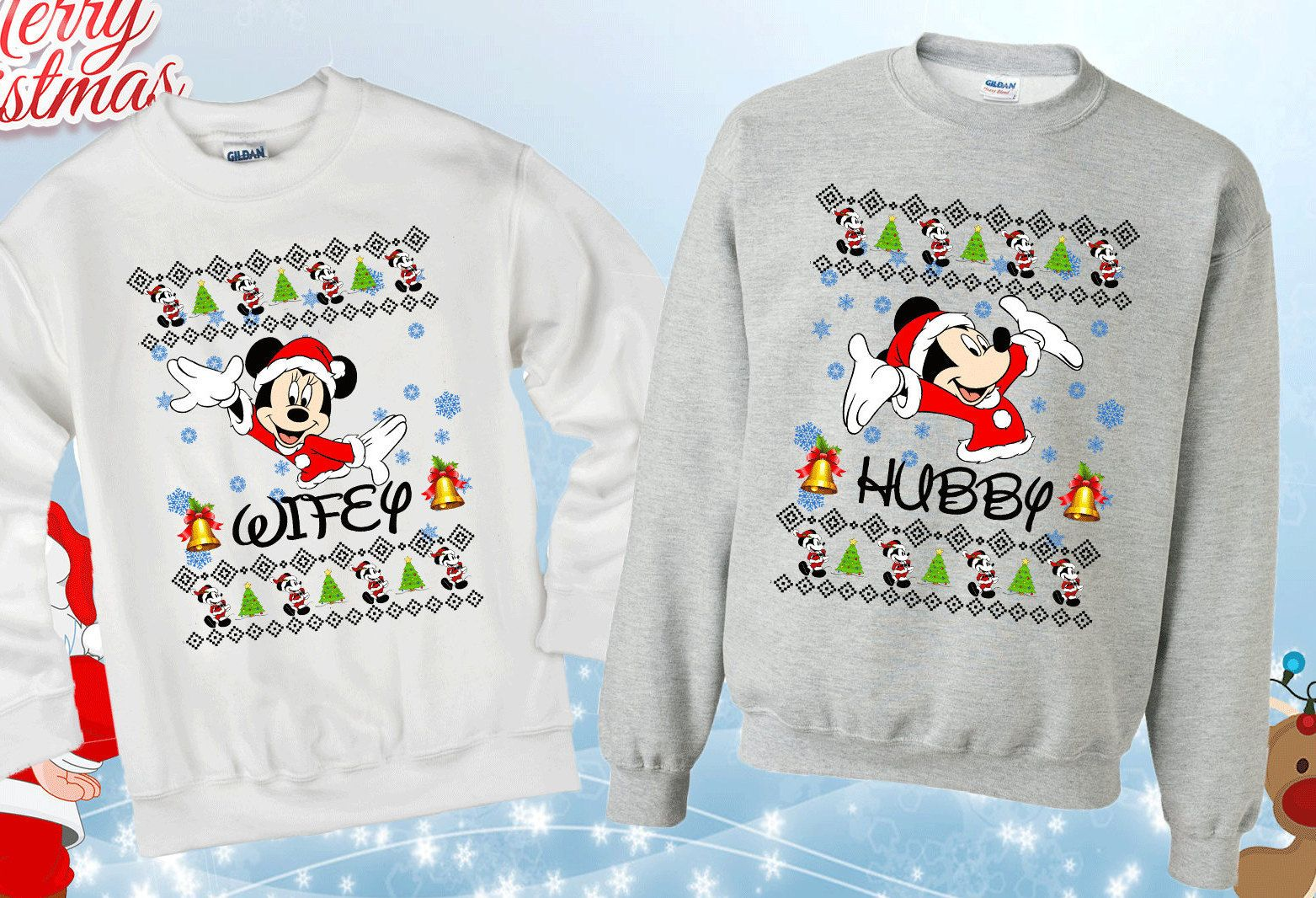 Set Christmas Matching Sweatshirts. Couples Sweatshirts