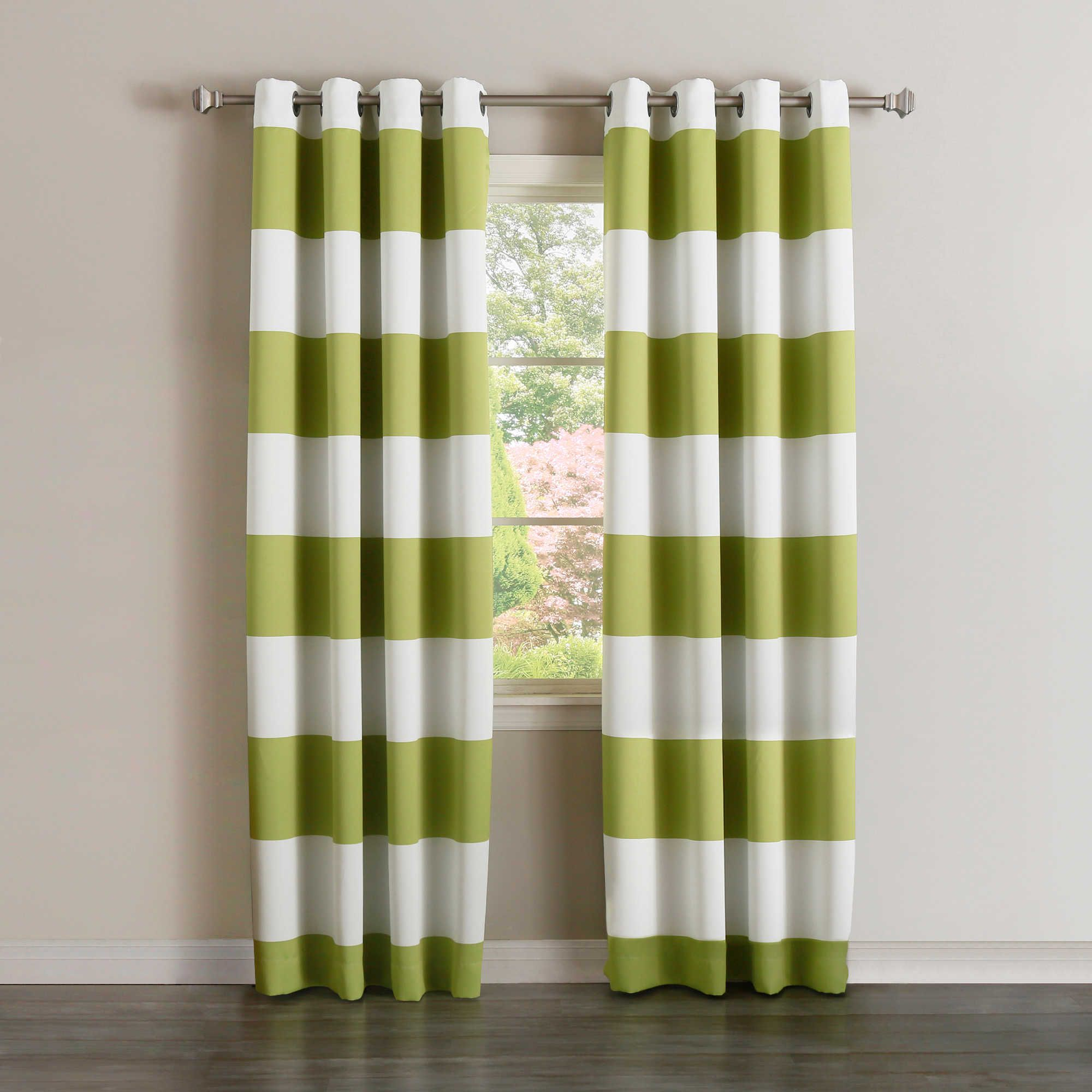 Decorinnovation Rugby Stripe Grommet Top Room Darkening Window Curtain Panel Pair Striped Curtains Striped Room Curtains