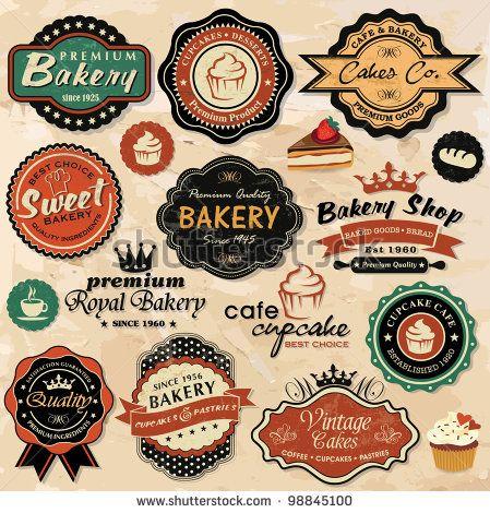 Collection Of Vintage Retro Grunge Food Labels Badges And Icons Bakery Logo Vintage Labels Vintage Logo