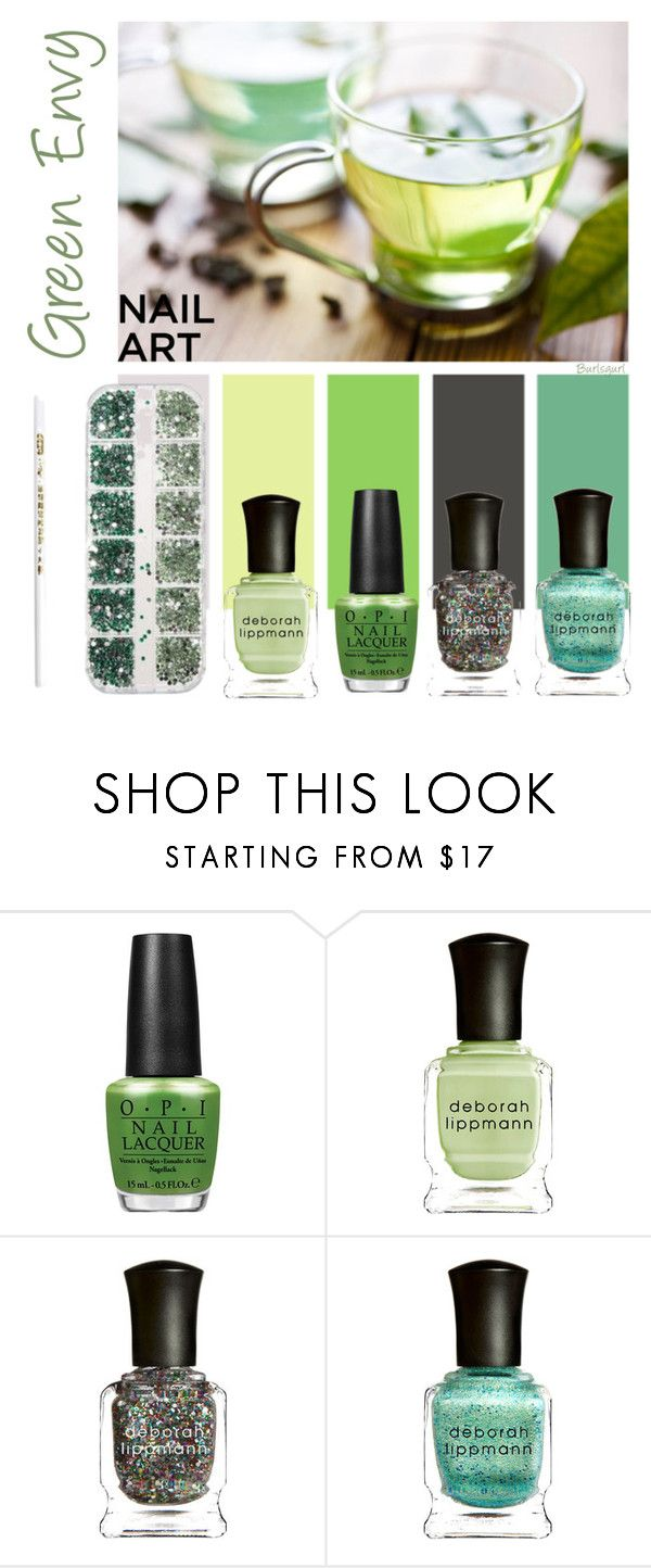 """Green Nails"" by burlsgurl ❤ liked on Polyvore featuring beauty, OPI, Deborah Lippmann, GREEN and nailedit"