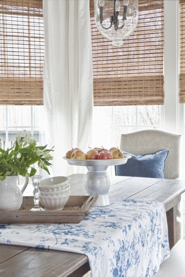 White Curtains And Bamboo Blinds Wood Table Upholstered Parsons