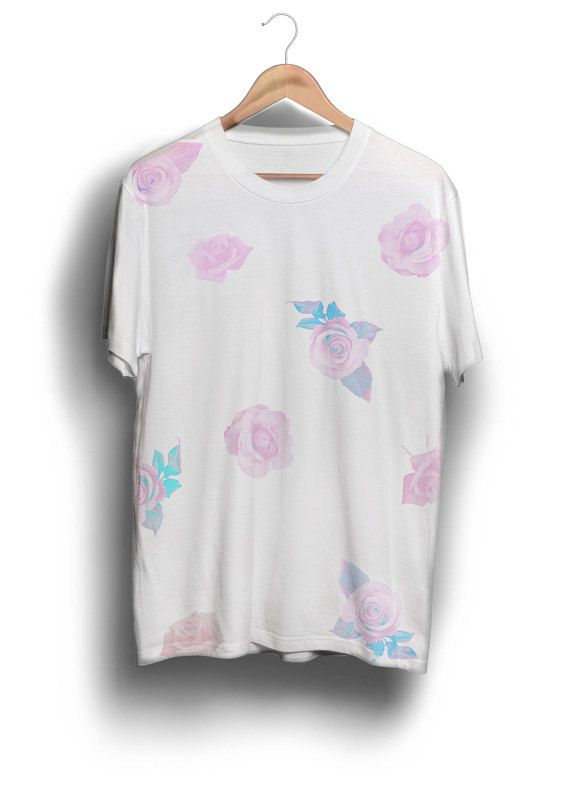 Pink Rose Pattern tee shirt, pastel tee, clothing ...
