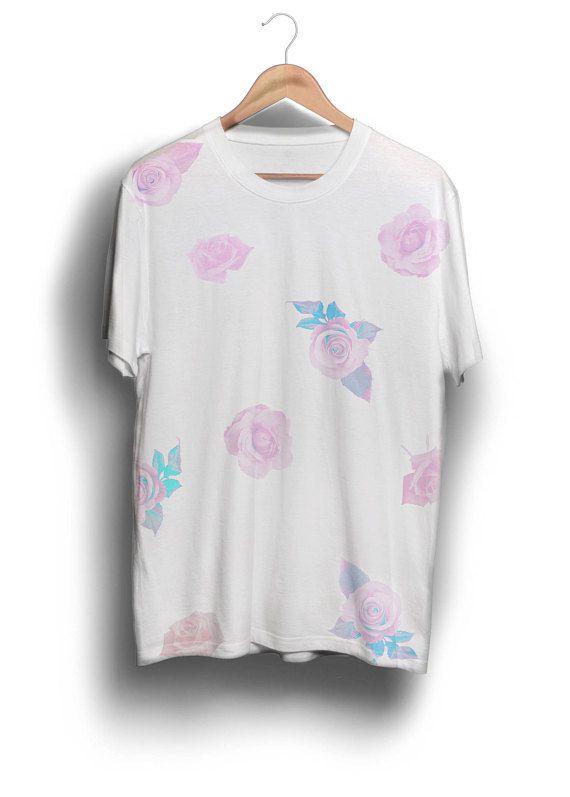 e35615d3 Pink Rose Pattern tee shirt, pastel tee, clothing, korean shirt, kawaii tee  shirt, floral shirt, tumblr aesthetic clothing
