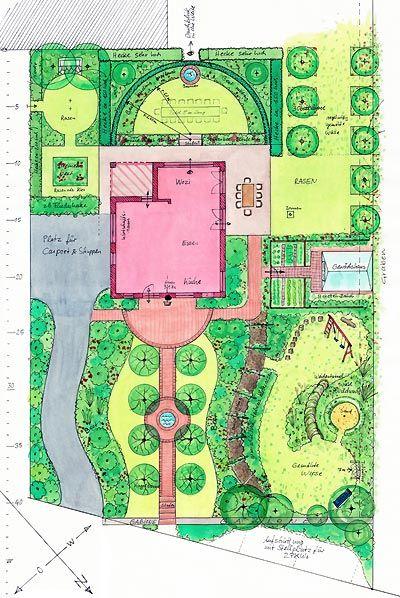 Dieses Grosse Grundstuck Ermoglicht Verschiedene Gartenraume Formal Und Informal Mit Allee Zum Eingang Laubengang Garten Grundriss Garten Garten Design Plane