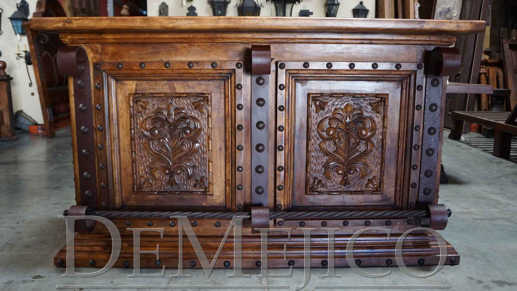 Custom Mesquite Wood Bar With Hand Carved Panels These Bars Could Be Manufactured Into