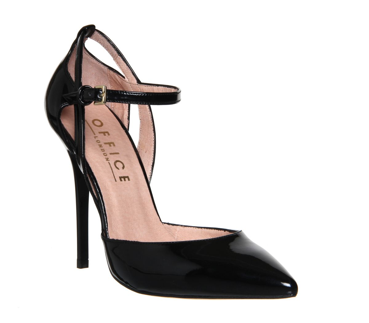 ed7b82ce3cf Office Pierce Ankle Strap Detail Point Court Black Patent - High Heels